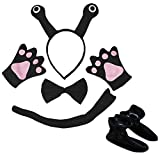 Petitebelle Guantes de cola de caracol para diadema, 5 piezas, disfraz para niños (negro, talla única)