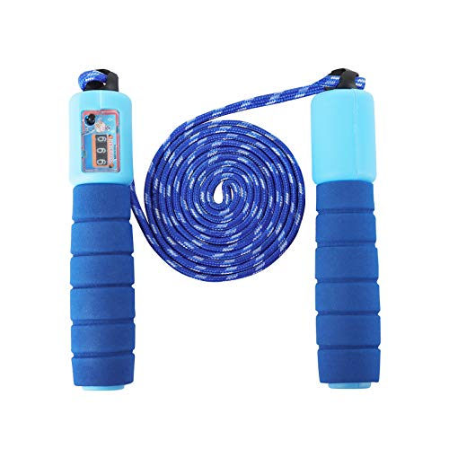 Sinwind Cuerda para Saltar Ajustable, Comba niños con Contador, Saltar la Cuerda de Boxeo y Mango de Espuma, Cuerda de Salto Sin Enredos de Velocidad, para Fitness Ejercicio (Blue)