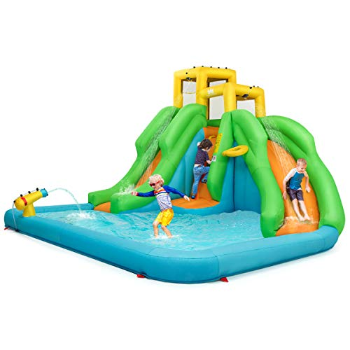 Cheapest Prices! HONEY JOY Inflatable Bounce House, Water Slide Park for Kids with 480W Air Blower, ...