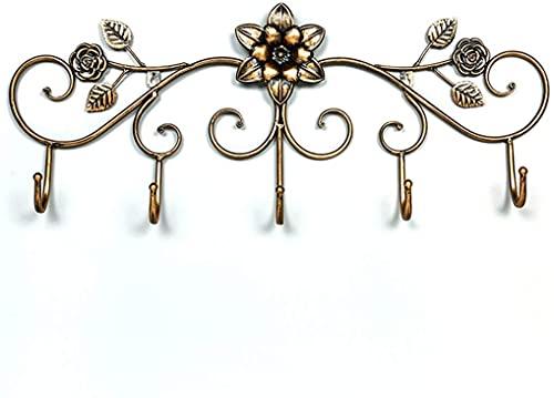 Capa montada en la pared Rose creativo Flor de la rosa de la pared de la pared de la puerta de la puerta de la puerta del gancho de la capa de la puerta del retro de la capa europea de la capa del gan