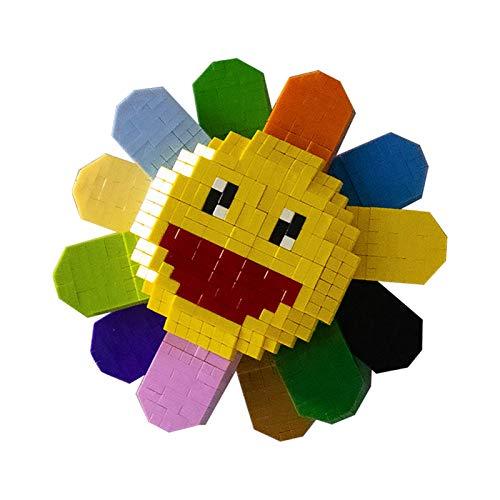 eLy Bloques Lego de Girasol, Rompecabezas tridimensionales Coloridos, 5.3 * 5.3 * 2.6in, un pequeño Regalo para niñas, Usado para Accesorios/Accesorios de Puerta/Mochila para refrigerador