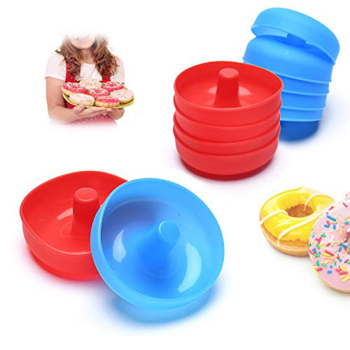 Silicone Donut Mold for Baking Cupcake,12 Pieces Nonstick Flexible Mini Round Doughnut Muffin Cups Shape Color Red & Blue by Jell-Cell