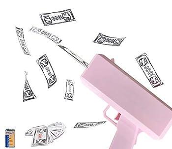 Koyiwa Pink Money Gun Make it Rain Money Toy Gun Spray Money Gun with 100 Pcs Prop Money & 1Pcs 9v Battery