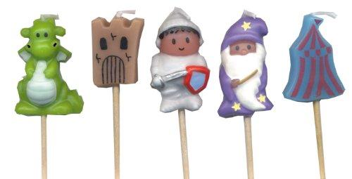 5 Mini-Kerzen * RITTER * auf Holzhalter für Party und Geburtstag // Kerzen Kuchen Torte Deko Candle Knight Burg Drache Zauberer