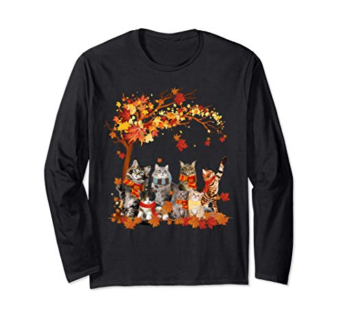 Cats Fall Autumn Leaf Funny Thanksgiving Cat Lovers Gift Long Sleeve T-Shirt