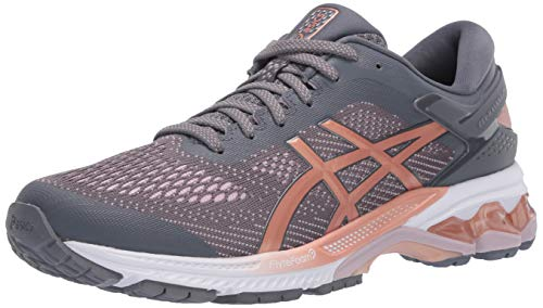 ASICS Women's Gel-Kayano 26 Running Shoes, 9, Metropolis/Rose Gold
