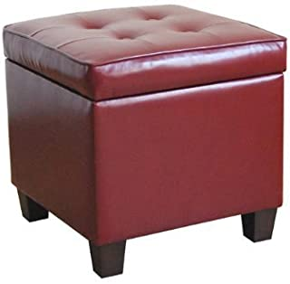 HomePop Leatherette Tufted Square Storage Ottoman with Hinged Lid, Red