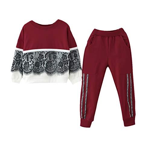 Kobay Frühling und Sommer Kleinkind Kinder Baby Mädchen Spitze Pullover Sweatshirt Tops Letter Pants Outfits Set