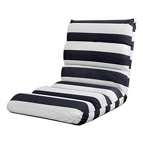 DX Silla de Piso Lazy Sofa 5 Gears Silla de meditación Ajustable libremente Silla Plegable de un Piso con Respaldo Cojín de Piso extraíble y Lavable Rayas
