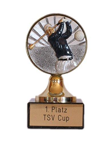 RaRu Golf-Pokal mit Gravur und Resin-Emblem + 3 Golf-Anstecknadeln.