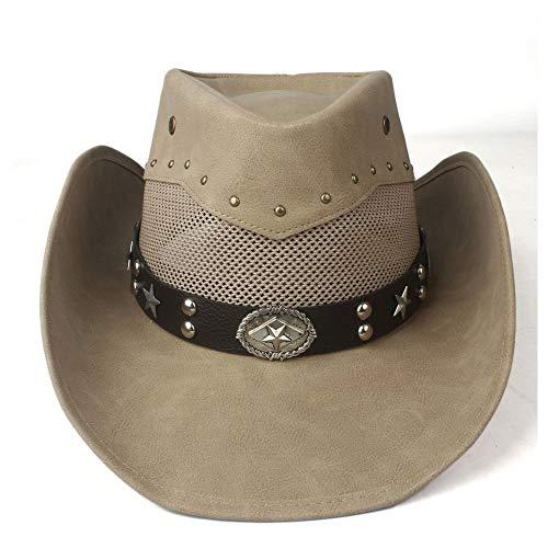 RedAlphabet 100% en Cuir été Chapeau de Cowboy Occidental des Femmes des Hommes de Maille Chapeau à Large Bord Chapeau de Cow-Girl de Performance en Plein air (Color : Khaki, Size : 58-59cm)