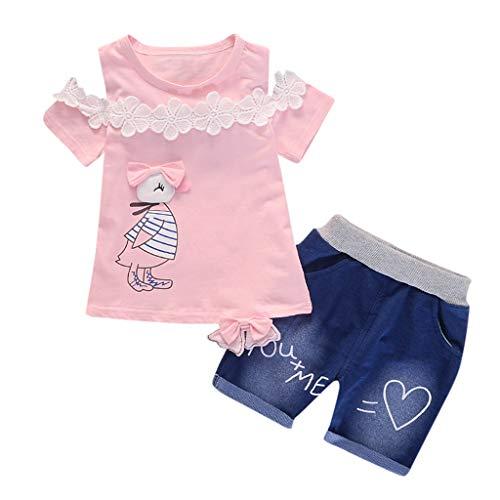 Toddler Baby Girls Short Sleeve Cartoon Print Tops+Denim Shorts Set Outfits