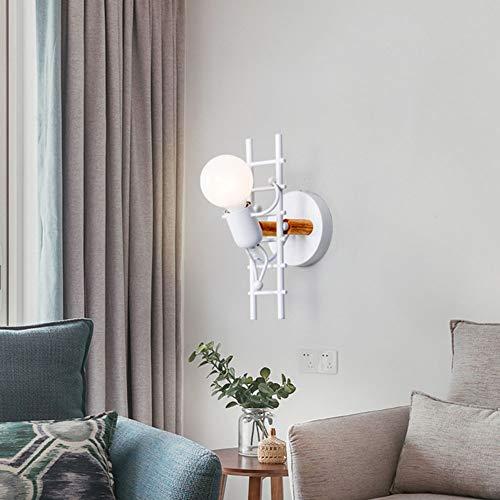 Nórdico Humanoid Creativa Lámpara de pared moderna E27 para habitación de los niños, salón, dormitorio, estudio, hotel, cafetería, pasillo (blanco)