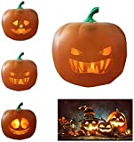 Mkcether Novelty Funny Talking Pumpkin Lamp, Funny/Spooky/Traditionnal 3 In 1 Face Halloween Talking Animated Pumpkin Projection Lamp with Built-in Speaker for Home Party Halloween Props Lantern Toy