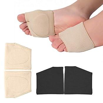 RooRuns Metatarsal Pads Ball of Foot Cushions Metatarsal Foot Pads for Pain Relief,Gel Pads Cushion for Metatarsalgia Mortons Neuroma Fabric Metatarsal Sleeve Pads for Women/Men 2Pairs  Black+Beige