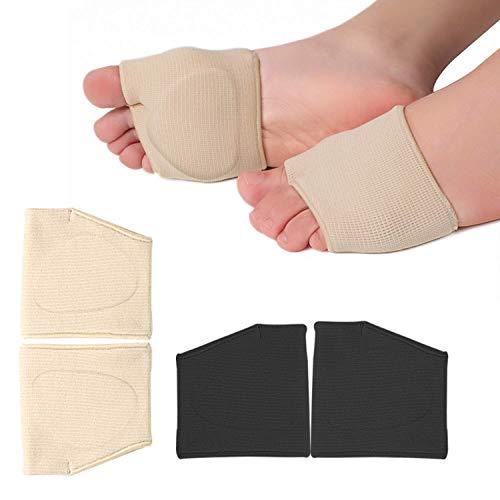 RooRuns Metatarsal Pads Ball of Foot Cushions Metatarsal Foot Pads for Pain Relief,Gel Pads Cushion for Metatarsalgia Mortons Neuroma Fabric Metatarsal Sleeve Pads for Women/Men 2Pairs (Black+Beige)