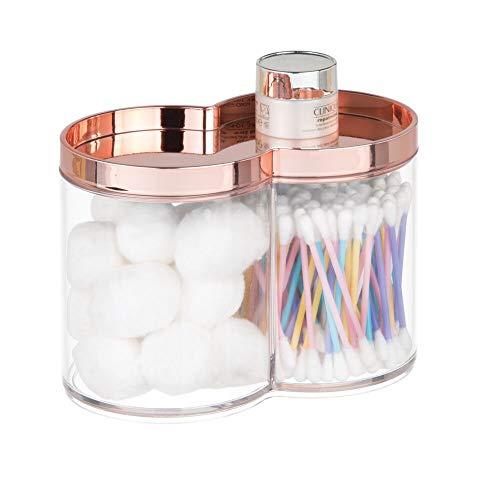 mDesign caja organizadora de plástico – Caja de almacenaje, ideal como dispensador de discos de algodón o bastoncillos – Cajas apilables con práctica tapa – oro rosa/transparente