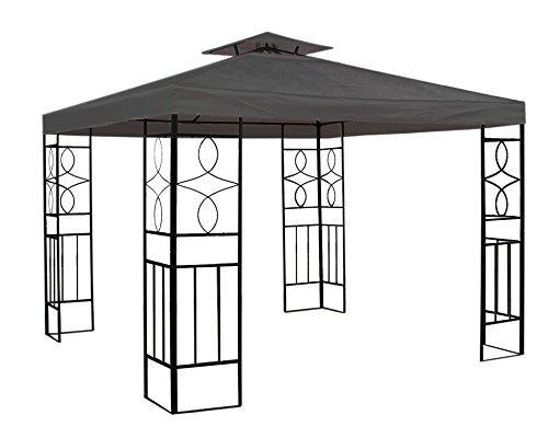 Trendkontor WASSERDICHTER Pavillon 3x3m Anthrazit ROMANTIKA Metall inkl. Dach Festzelt wasserfest Partyzelt