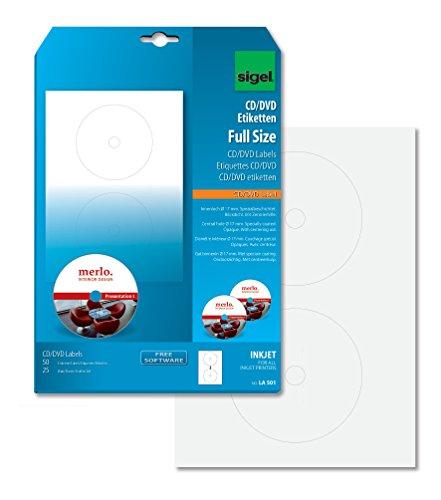 SIGEL LA501 CD-/DVD-Etiketten weiß, 50 Etiketten = 25 Blatt, spezialbeschichtet, mit Zentrierhilfe, FullSize 17 mm Innenloch, für InkJet