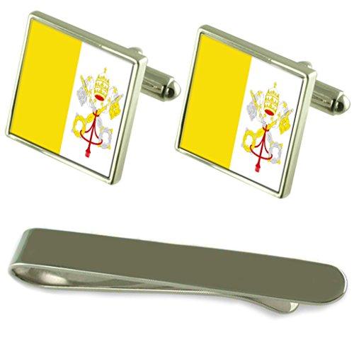 Flagge des Heiligen Stuhls Silber Manschettenknöpfe Krawatten Clip Box Set