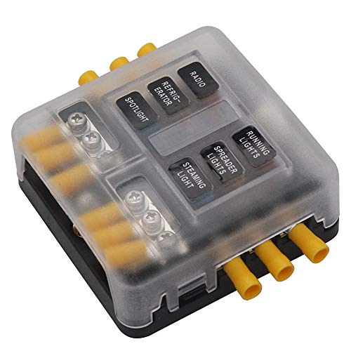 6-Fach Sicherungshalter mit Minuspol Bus Boot Marine Auto Wohnmobil Solaranlage Kfz Sicherungskasten 12V -32V LED-Anzeige normalen Sicherungen PBT-Material