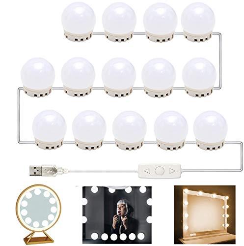 SATISFIED Led Spiegelleuchte Hollywood Stil 14 Dimmbar LED Schminklicht für Kosmetikspiegel Schminktisch Badzimmer Spiegel