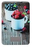 Pullach Hof Küchenwaage digital Elektronische Design Waage Digitalwaage mit Tara Funktion Einheiten Taste für g, kg, lb, oz, Farben wählbar bis 5 KG Aufhänger als Wanddeko Glasbild (Beeren)