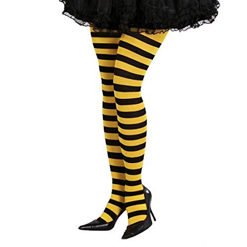 NET TOYS Blickdichte Bienen-Strumpfhose | Gelb-Schwarz | Aufregendes Damen-Kostüm-Zubehör Feinstrumpfhose gestreift | Genau richtig für Fasching & Karneval