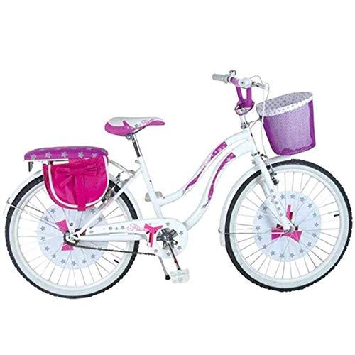 Mediawave Store - Bicicletta Fiocco BKT Taglia 20 Bici per Bambina con Cestino Ideale per età 7-13 Anni, Bicicletta da Passeggio con Freni Caliper, Cavalletto Laterale, Bicicletta Rosa per Bambina