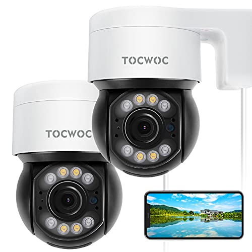 5MP Outdoor Security Camera, 2560×1920 TOCWOC Home Surveillance Camera with Pan/Tilt Waterproof Wi-Fi Color Night Vision 2-Way Audio Human Detection Auto Tracking and Cloud/SD Slot Storage(2 Pack)