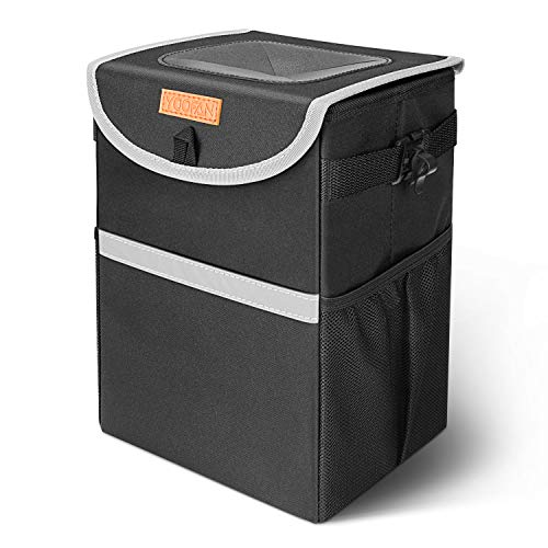 YOOFAN Car Bin- Waterproof Car Trash Can,Foldable Car Rubbish Bin with Lid and Side Pockets,Car Boot Organiser for Car,SUV