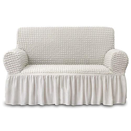 NICEEC Loveseat Slipcover Ivory Loveseat Cover 1 Piece Easy Fitted Sofa Couch Cover Universal High Stretch Durable Furniture Protector Love Seat with Skirt Country Style (2 Seater Ivory)