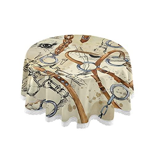 PUXUQU Mantel de tela de mesa de caballo ecuestre redondo mantel cubierta de mesa para el hogar, cocina, picnic, fiesta al aire libre interior