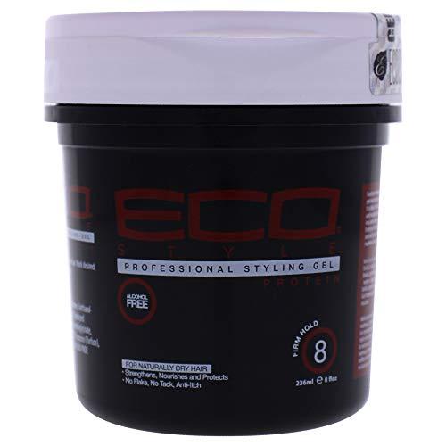 ECOCO Eco Style Gel, Protein, Sans Alcool, Tenue Ferme 8, Pour cheveux Naturellement Secs, Renforce, Nourrit et Protège, Ne s'écaille pas, Ne colle pas, Antidémangeaisons, 236 ml