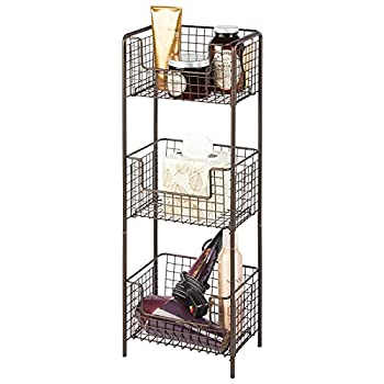 mDesign 3 Tier Vertical Standing Bathroom Shelving Unit Decorative Metal Storage Organizer Tower Rack Center with 3 Basket Bins to Hold and Organize Bath Towels Hand Soap Toiletries - Bronze