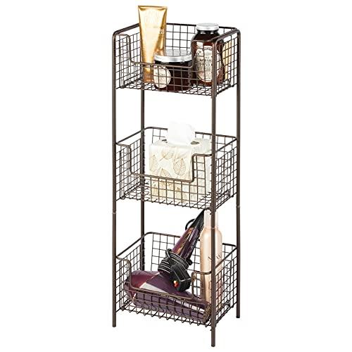 mDesign Estantería de baño de pie en metal – Mueble auxiliar de baño inoxidable con tres baldas metálicas para toallas, champú y gel – Ideal también como despensa para la cocina – color bronce