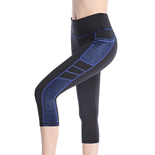 Se Yo Women's Leggings High Waist Yoga Pants Pocket Running Workout Tights No See Through Capri Leggings (Small, 3/4 Leggings-Black/Blue)