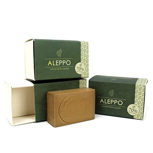 3 Saponi di Aleppo Originale con 70% Olio d'Alloro - Ricetta Tradizionale - Aleppo Puro e Naturale 100% - Prodotto Artigianalmente - Sapone Prezioso per il Trattamento della Pelle - Kit Risparmio