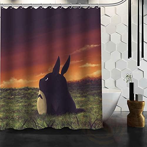 KONZFA Cortina de la duchaCarácter Totoro Cortina de Ducha Personalizada Dibujos Animados Decoración de baño Cortina de baño Spirited Away