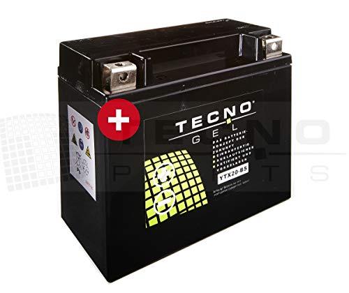 TECNO-GEL Motorrad-Batterie YTX20-BS, 12V Gel-Batterie 18Ah, 175x87x155 mm inkl. Pfand