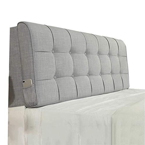 Fei Fei väska design stort ryggstöd enfärgad lin vägg mjuk förpackning förvaring säng ryggstöd kudde (färg: Grå, storlek: 160 x 10 x 58 cm)