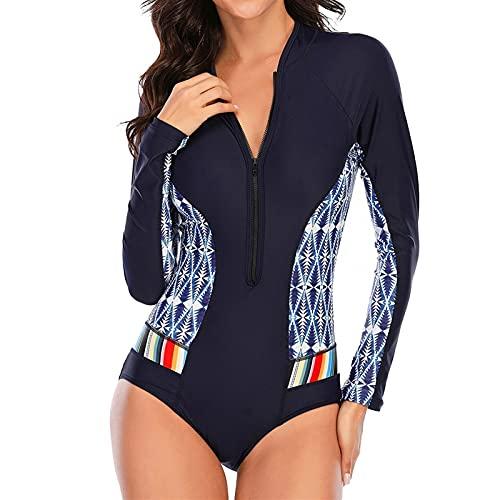 LUXMAX Hermoso traje de baño sexy de una pieza traje de baño de manga larga para mujer, traje de baño de playa, surf y natación (color: 7777, tamaño: XL.) (color: 2234, tamaño: XL)