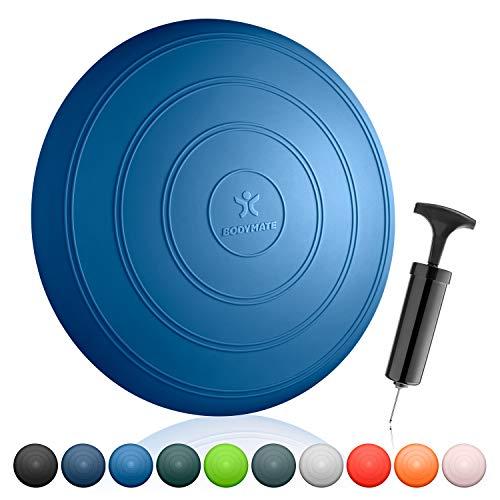 BODYMATE Ballsitzkissen Comfort inkl. Pumpe BLAU 33cm Durchmesser - Balance-Kissen, Sitzballkissen, Luftkissen, Balance Pad - Core-, Fitness-, Reha-, Koordinations- und Rückentraining