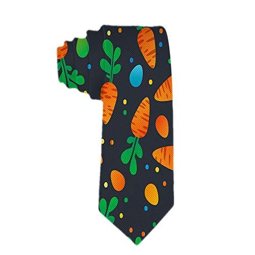 Web--ster Corbata delgada con patrón de huevos y zanahoria