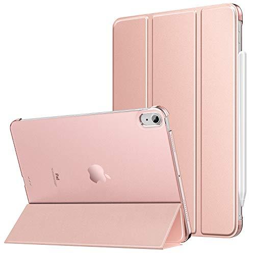 MoKo Hülle Kompatibel mit iPad Air 4. Generation 2020 iPad 10.9 Zoll2020 Tablet, [Unterstützt 2. Gen iPencil Laden] PU Leder Tasche Transluzent Rückseite Schutzhülle Auto Schlaf/Wach, Roságold