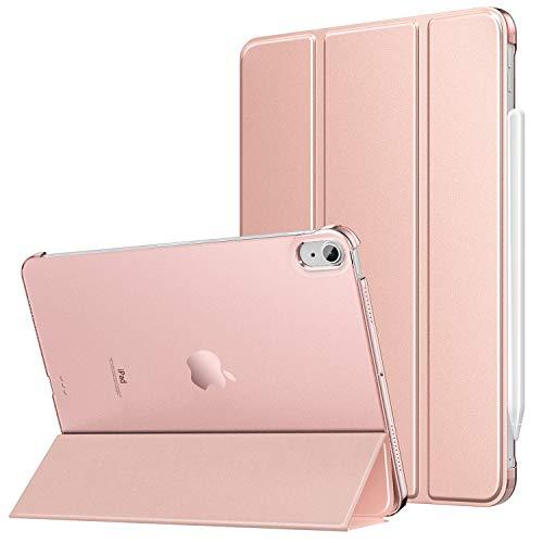 MoKo Case Fit New iPad Air 4th Generation 2020 - iPad Air 4 Case 10.9 inch Slim Lightweight Shell Stand Cover with Translucent Frosted Back Protector for iPad Air 4, Auto Wake/Sleep, Rose Gold