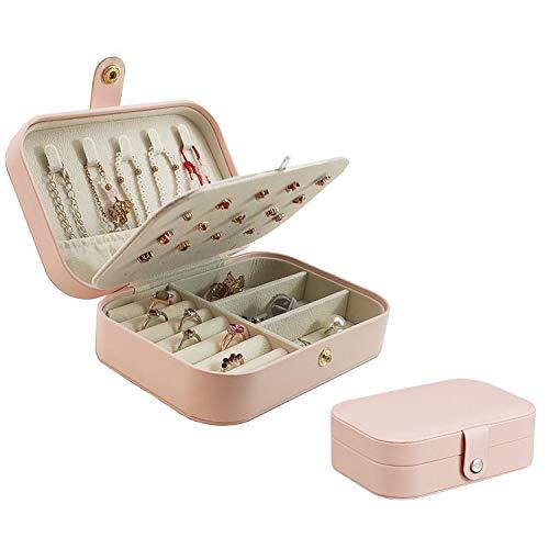 Mini organizador de joyas, pequeño viaje de piel sintética, organizador de joyería de viaje, caja de joyería portátil, caja de joyería para collares, pulseras, anillos, pendientes (rosa claro)