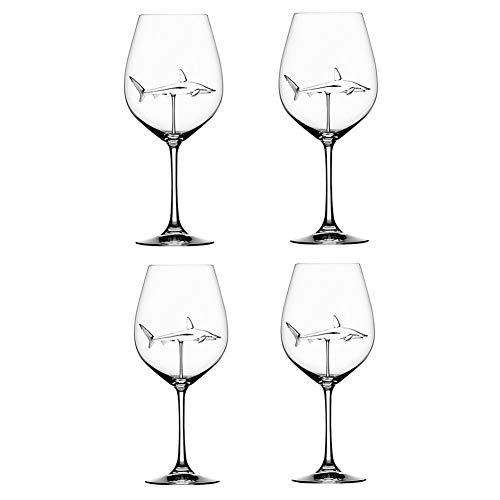JIEHED Rotweingläser, Rotweingläser mit Hai im Becherglas Bleifreies Klarglas für Erwachsene, Kristallweingläser, Kreatives Becherglas, High-End-Querflötenglas Perfekt für Zuhause/Bars/Partys