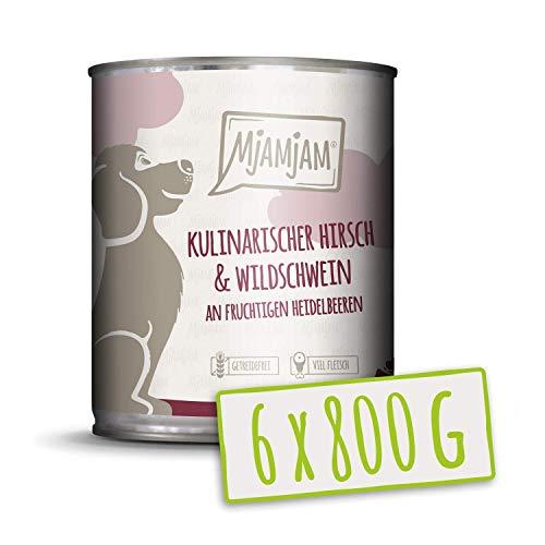 MjAMjAM Mangime Umido per Cani, Cervo e Cinghiale Culinari Accompagnati da Mirtilli Fruttati, Genuino - Pacco da 6 x 800 g