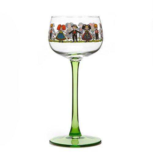 Collection HANSI - 6 Verres à Vin d'Alsace décor couleur d'après Hansi